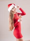 Sankt-Mädchen mit Glas Champagner stockbilder