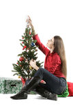 Sankt-Mädchen mit Weihnachtsbaum stockfotos
