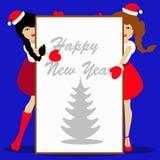 Sankt-Mädchen Weihnachtsneues Jahr auf blauer Hintergrundillustration eines Weißbuches des Blattes für das Schreiben des Textes Stockfoto