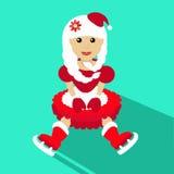 Sankt-Mädchen Weihnachtsneues Jahr auf dem blauen Hintergrund, der mit Rochenillustration sitzt Lizenzfreie Stockfotos