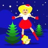 Sankt-Mädchen Weihnachtsneues Jahr auf einem blauen Hintergrund mit dem Symbol der Hahnillustration des Hahnes 2017goda Hühner Lizenzfreie Stockfotos