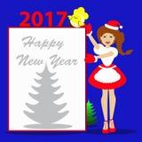 Sankt-Mädchen Weihnachtsneues Jahr auf einem blauen Hintergrund mit dem Symbol von Hahn-Abbildungsblatt w des Hahnes 2017goda Hüh Lizenzfreie Stockfotografie