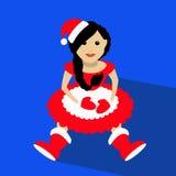 Sankt-Mädchen Weihnachtsneues Jahr, das auf einer blauen Hintergrundillustration sitzt Stockfoto