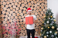 Sankt-Mann mit Kasten an Weihnachtsbaum Stockfotografie