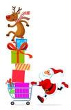 Sankt mit dem Einkaufswagen voll von den Geschenken stock abbildung