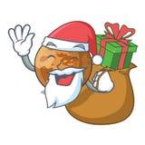 Sankt mit Geschenk plenet Quecksilber lokalisiert in einem Maskottchen lizenzfreie abbildung