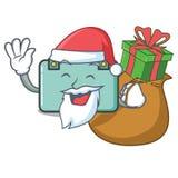 Sankt mit Geschenkkoffermaskottchen-Karikaturart stock abbildung