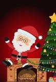 Sankt mit Kamin- und Weihnachtsbaum Stockfotografie