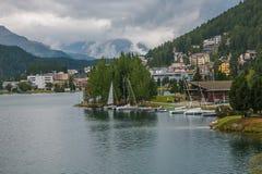 Sankt Moritz city on the lake Royalty Free Stock Photography