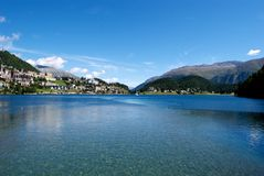Sankt Moritz Lake. The Sankt Moritz's Lake. A beautiful view with a blue sky and trasparent water Stock Photos