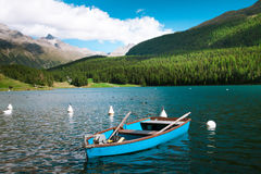 Sankt Moritz Lake with boats Royalty Free Stock Image
