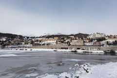 Sankt Moritz Lake and City in Winter Royalty Free Stock Image