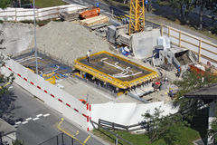 Sankt Moritz, Switzerland - Preparing the foundation. SANKT MORITZ, SWITZERLAND - JULY 16: Preparing the foundation for the construction of a new building in Stock Photo