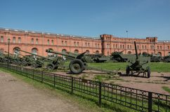 Exposition on courtyard of Military History Museum of artillery, Royalty Free Stock Photo