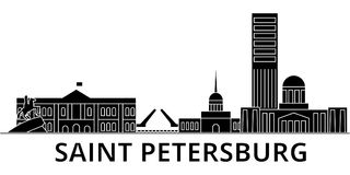 Sankt Petersburg architecture vector city skyline, travel cityscape with landmarks, buildings, isolated sights on Royalty Free Stock Image