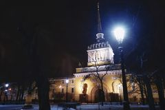 Sankt-Petersburg building architecture outdoors streetlight sky trees winter snow cold weather. City night streetlight illuminated Sankt-Petersburg architecture Royalty Free Stock Images