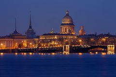 Sankt Petersburg most important landmarks by Night Royalty Free Stock Photos