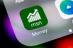 Microsoft MSN money application icon on Apple iPhone X smartphone screen close-up. Microsoft msn money app icon. Social network. S. Sankt-Petersburg, Russia stock photos