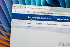 Facebook business homepage website on Apple iMac monitor screen. Facebook is the most popular social network in the world. Stock Images