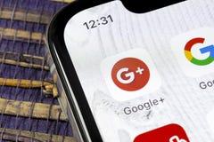 Google plus application icon on Apple iPhone X smartphone screen close-up. Google plus app icon. Google . Social media icon. Socia. Sankt-Petersburg, Russia stock image