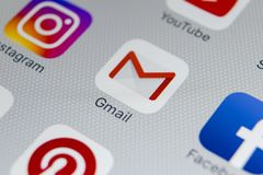 Google Gmail application icon on Apple iPhone 8 smartphone screen close-up. Gmail app icon. Gmail is the most popular Internet. Sankt-Petersburg, Russia Stock Photo