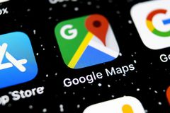 Google Maps application icon on Apple iPhone X screen close-up. Google Maps icon. Google maps application. Social media network stock images