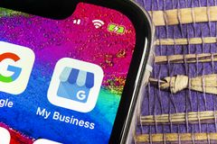 Google My Business application icon on Apple iPhone X screen close-up. Google My Business icon. Google My business application. So. Sankt-Petersburg, Russia royalty free stock photo