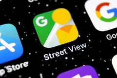 Google Street View application icon on Apple iPhone X screen close-up. Google StreetView app icon. Google Street view application. stock image