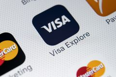 Visa application icon on Apple iPhone X screen close-up. Visa app icon. Visa online application. Social media app. Sankt-Petersburg, Russia, February 9, 2018 Stock Photo