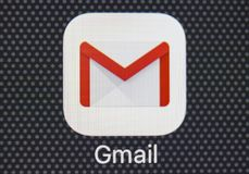 Google Gmail application icon on Apple iPhone 8 smartphone screen close-up. Gmail app icon. Gmail is the most popular Internet. Sankt-Petersburg, Russia, January Royalty Free Stock Photo