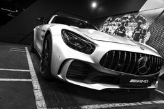 Mercedes-Benz AMG GTR 2018 V8 Biturbo exterior details, Headlight. Front view. Car exterior details. Black and white. Sankt-Petersburg, Russia, January 12, 2018 stock images