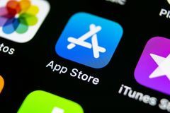 Apple store application icon on Apple iPhone X smartphone screen close-up. Mobile application icon of app store. Social network. A. Sankt-Petersburg, Russia royalty free stock photography