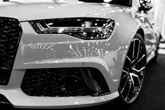 Front view of a blue modern luxury blue sport car Audi RS 6 Avant Quattro 2017. Car exterior details. Black and white. Royalty Free Stock Image
