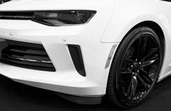 Front view of a Chevrolet Camaro 2017. Car exterior details. Black and white. Photo Taken on Royal Auto Show July, 21. Sankt-Petersburg, Russia, July 21 2017 stock image