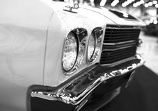 Front view of a great retro american muscle car Chevrolet Camaro SS. Car exterior details. Black and white. Sankt-Petersburg, Russia, July 21, 2017: Front view Royalty Free Stock Photography