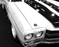 Front view of a great retro american muscle car Chevrolet Camaro SS. Car exterior details. Black and white. Sankt-Petersburg, Russia, July 21, 2017: Front view Royalty Free Stock Photos