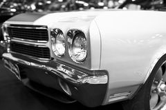 Front view of a great retro american muscle car Chevrolet Camaro SS. Car exterior details. Black and white. Sankt-Petersburg, Russia, July 21, 2017: Front view Stock Image