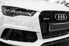 Front view of a modern luxury blue sport car Audi RS 6 Avant Quattro 2017. Car exterior details. Black and white. Sankt-Petersburg, Russia, July 21, 2017: Front Stock Photography