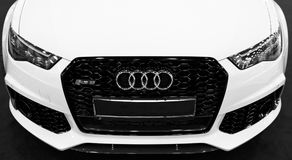 Front view of a modern luxury blue sport car Audi RS 6 Avant Quattro 2017. Car exterior details. Black and white. Sankt-Petersburg, Russia, July 21, 2017: Front Royalty Free Stock Photo