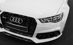 Front view of a modern luxury sport car Audi RS 6 Avant Quattro 2017. Car exterior details. Black and white. Sankt-Petersburg, Russia, July 21, 2017: Front view royalty free stock image