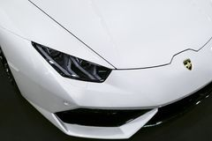 Front view of a White Luxury sportcar Lamborghini Huracan LP 610-4. Car exterior details. Stock Images