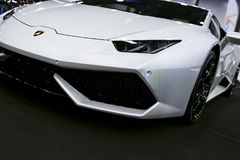 Front view of a White Luxury sportcar Lamborghini Huracan LP 610-4. Car exterior details. Photo Taken on Royal Auto Show July 21 Stock Photos