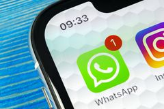 Whatsapp messenger application icon on Apple iPhone X smartphone screen close-up. Whatsapp messenger app icon. Social media icon. Sankt-Petersburg, Russia, June royalty free stock photo