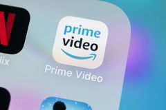 Amazon Prime Video application icon on Apple iPhone X screen close-up. Amazon PrimeVideo app icon. Amazon Prime application. Sankt-Petersburg, Russia, March 15 royalty free stock image