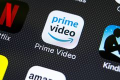 Amazon Prime Video application icon on Apple iPhone X screen close-up. Google Amazon PrimeVideo app icon. Google Amazon Prime app royalty free stock photography