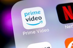 Amazon Prime Video application icon on Apple iPhone X screen close-up. Google Amazon PrimeVideo app icon. Google Amazon Prime appl. Sankt-Petersburg, Russia royalty free stock photography