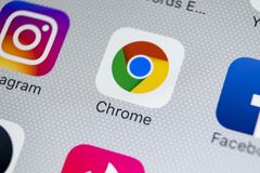 Google Chrome application icon on Apple iPhone X screen close-up. Google Chrome app icon. Google Chrome application. Social media. Sankt-Petersburg, Russia royalty free stock photo