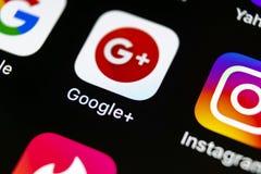 Google plus application icon on Apple iPhone X smartphone screen close-up. Google plus app icon. Google+. Social media icon. Socia. Sankt-Petersburg, Russia, May royalty free stock photo