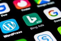 Bing application icon on Apple iPhone X screen close-up. Bing ads app icon. Bing ads is online advertising application. Social med stock images