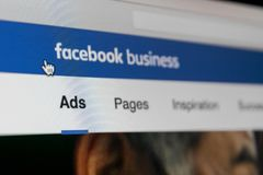 Facebook Ads application icon on Apple iMac screen close-up. Facebook Business app icon. Facebook Ads mobile application. Social m. Sankt-Petersburg, Russia stock photo